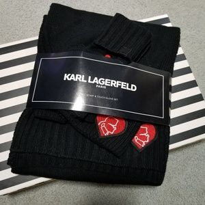 Karl Lagerfeld hat, scarf and touch glove set